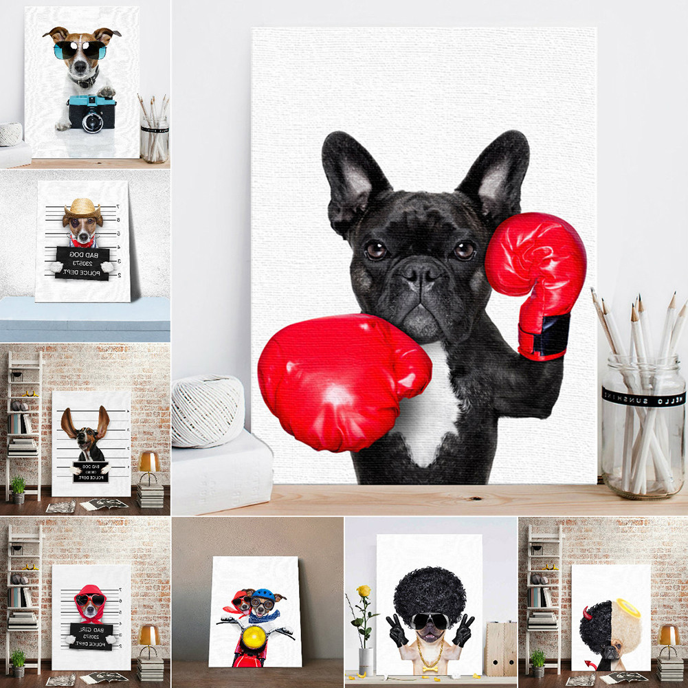 HTB104JfLSzqK1RjSZPcq6zTepXah Nordic Style Boxing Dog Canvas No Frame Art Print Painting Poster Funny Cartoon Animal Wall Pictures For Kids Room Decoration