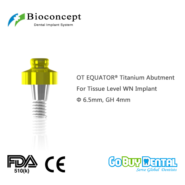 лучшая цена OT EQUATOR Titanium Abutment, D6.5mm, GH 4mm, for Straumann Tissue Level WN Implant(034240-1)