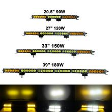 12V Led Light Bar Spot White Amber Flood Combo Work Driving Lamp 90w 120w 150w 180w 210w 21 27 33 39 45 4X4 4WD 24V