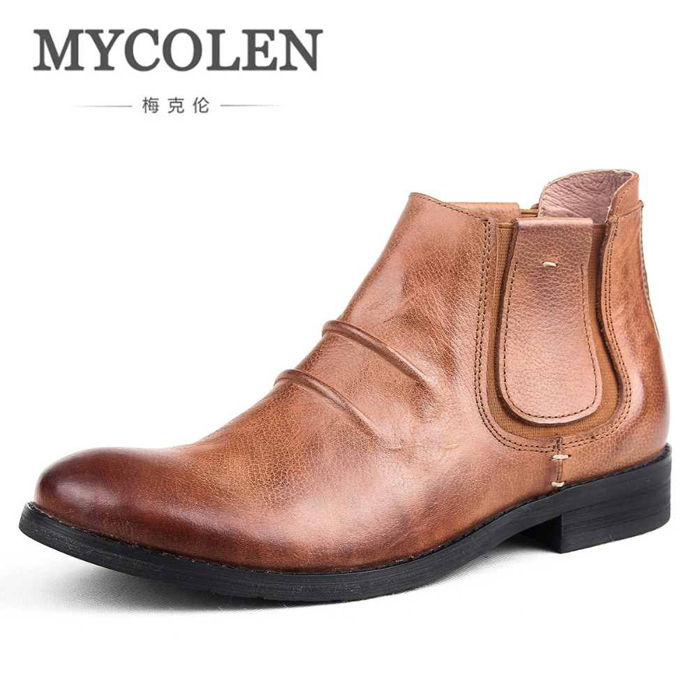 MYCOLEN New Style Men Shoes Luxury Brand Top Fashion Leather Winter Men Boots High Quality Casual Comfortable Shoe Men Boots high quality men s printed jeans punk style cotton straight leg cool jeans for young men comfortable trousers new brand yf52
