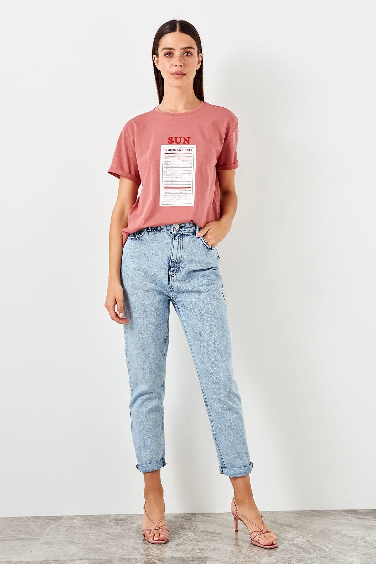Trendyol Mavi-Flushing High Bel Mom Jeans TWOSS19LR0340