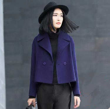 3408c2226fb Short Trench Coat Wool Coats and Jackets Women Spring 2018 Wide-waisted Double  Breasted Turn