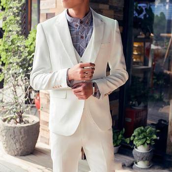 New Arrival One Button Ivory Groom Tuxedos Groomsmen Notch Lapel Mens Suits Blazers (Jacket+Pants+Vest+Tie) W:1032