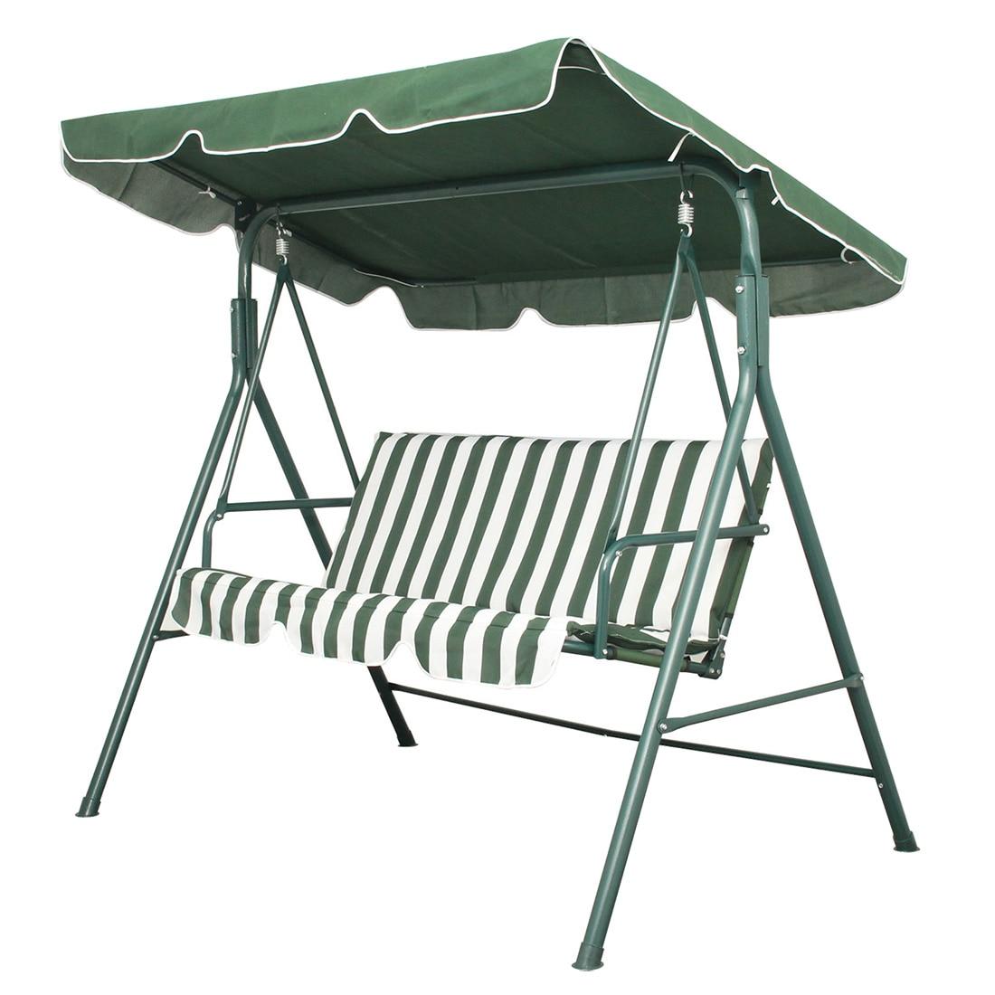 Garden Patio Metal Swing Chair Seat 3 Seater Hammock Bench Swinging Cushioned