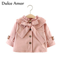 Dulce Amor 2017 Autumn Baby Girls Jacket Coat Clothes Full Sleeve Girls Outerwear Windbreak With Bow
