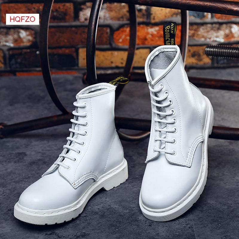 HQFZO/брендовые осенние белые ботинки, большие размеры, женские ботильоны из натуральной кожи на плоской подошве с круглым носком, женская обу...