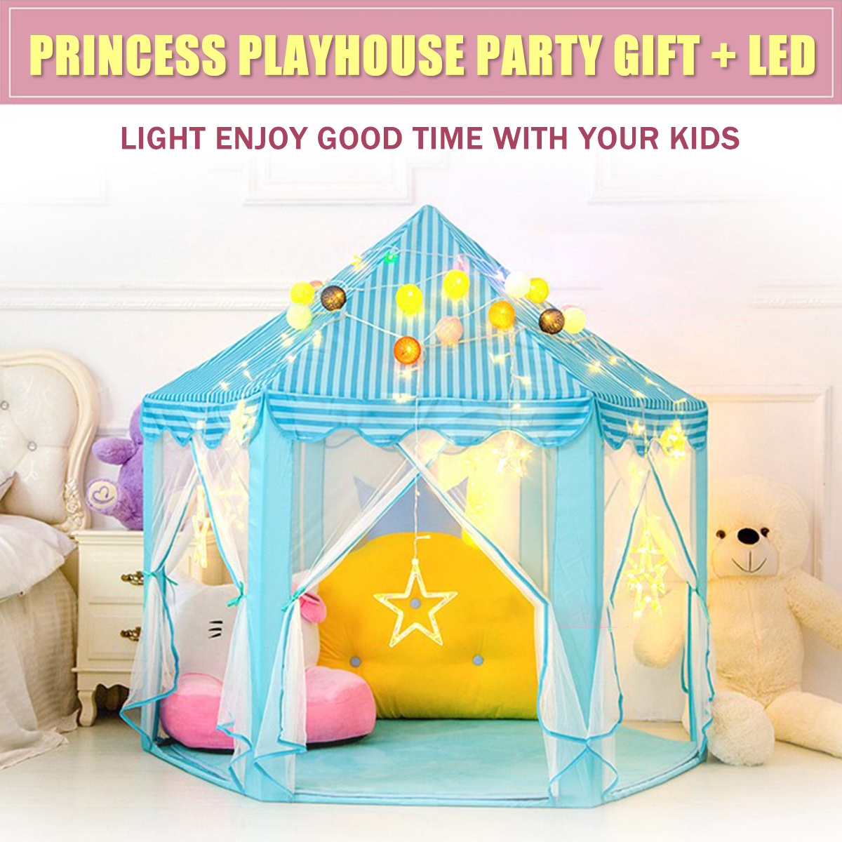 Princess Castle Pop Up Play Tent Kids Girl Play House Indoor Outdoor with LED Light Fold Tent Balls Pool Play Lodge