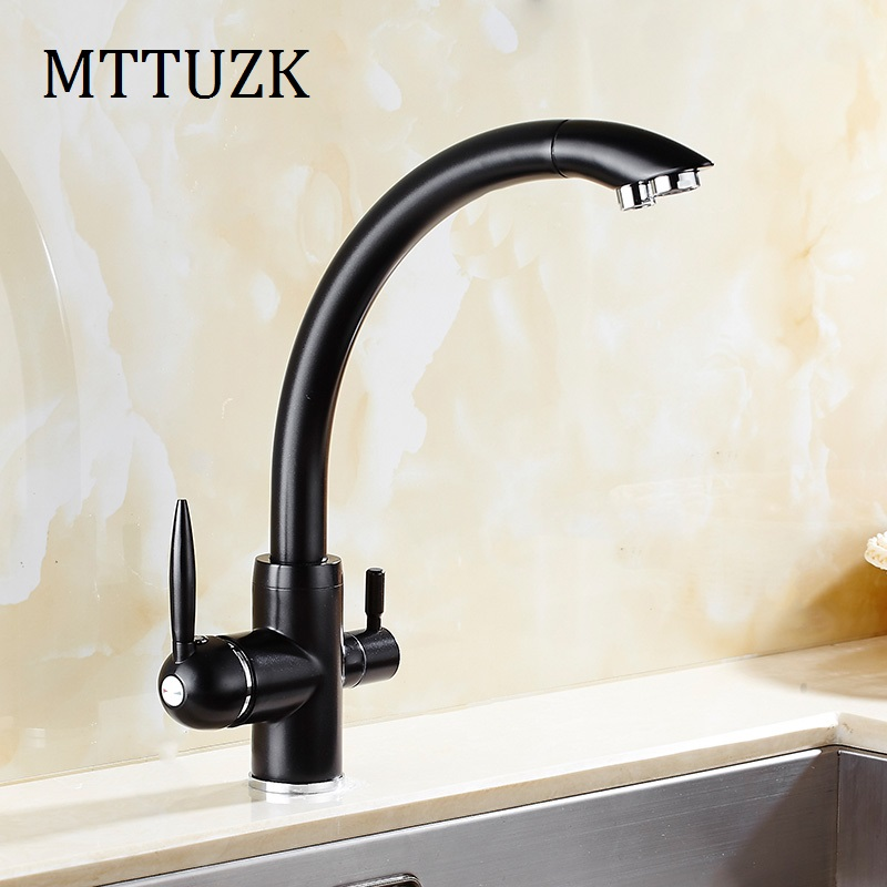 цена на MTTUZK Oil Rubbed Kitchen Hot Cold Water Kitchen Faucet Pure Water Faucet Drinking Water Mixer Tap Double Water Outlet Faucet