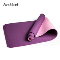 NRAHBSQT Anti Slip TPE Yoga Mat 6mm Double Sided Color Sports Fitness Mats For Exercise Environmental Tasteless Pad YM003