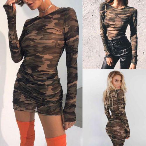 Sexy Womens Long Sleeve Bandage Bodycon Evening Party Mini Dress