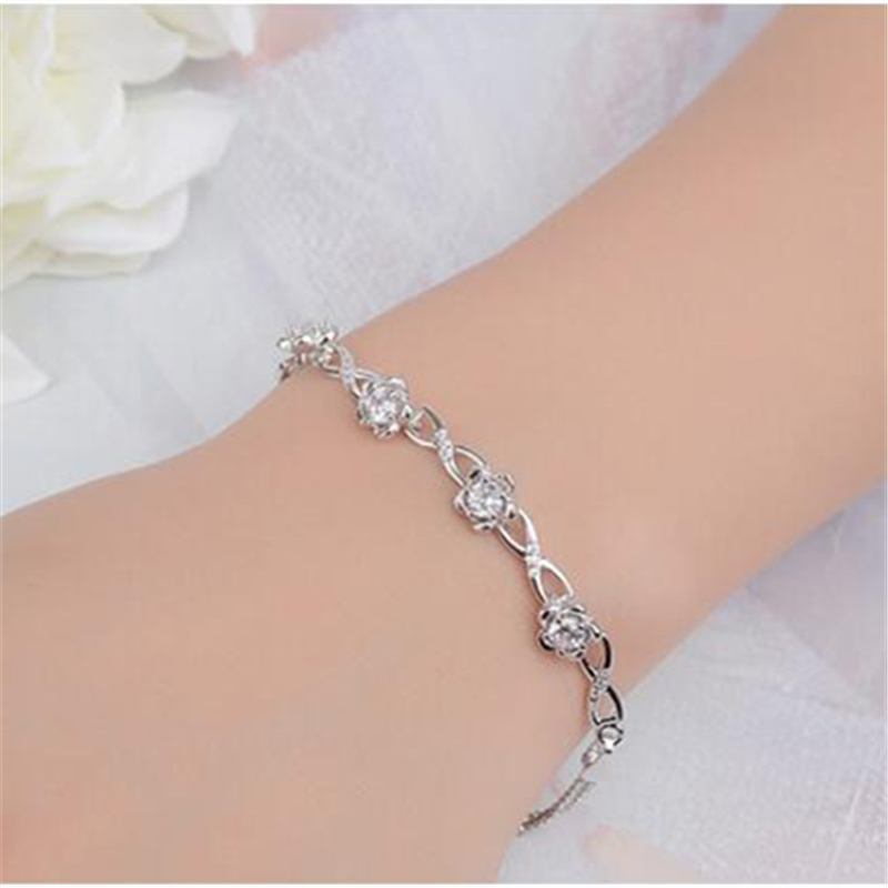 Drop Shipping Rose Flower Zircon 925 Sterling Silver Fashion Bracelets Women Prevent allergy Jewelry High Quality Gift For Girl hot hair cuff clip jewelry hairpin womens accessories xmas gift star leaf drop shipping high quality s16 drop shipping