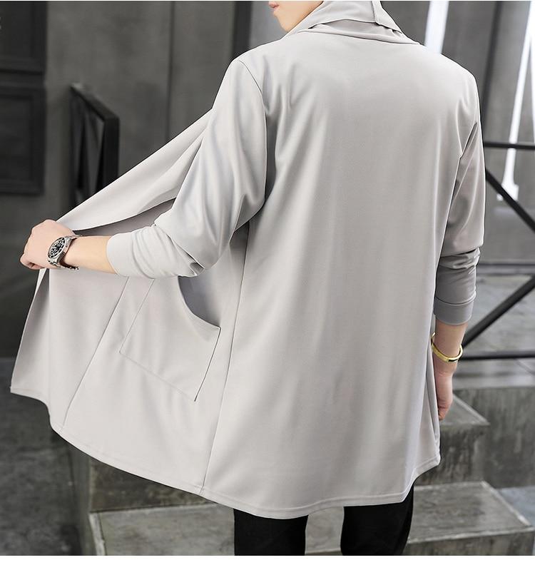 2019 New Men's Autumn Long Cardigan Coat Male Long Sleeve Slim Fit Black Gray Cardigans Draped Collar Casual Cardigan Jackets