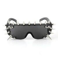 Vazrobe Spiked Goggles Bril met Spikes Rock Zwart Vrouwen Steampunk Zonnebril Nieuwigheid Plastic Spike Hippy Een Stuk Hiphop