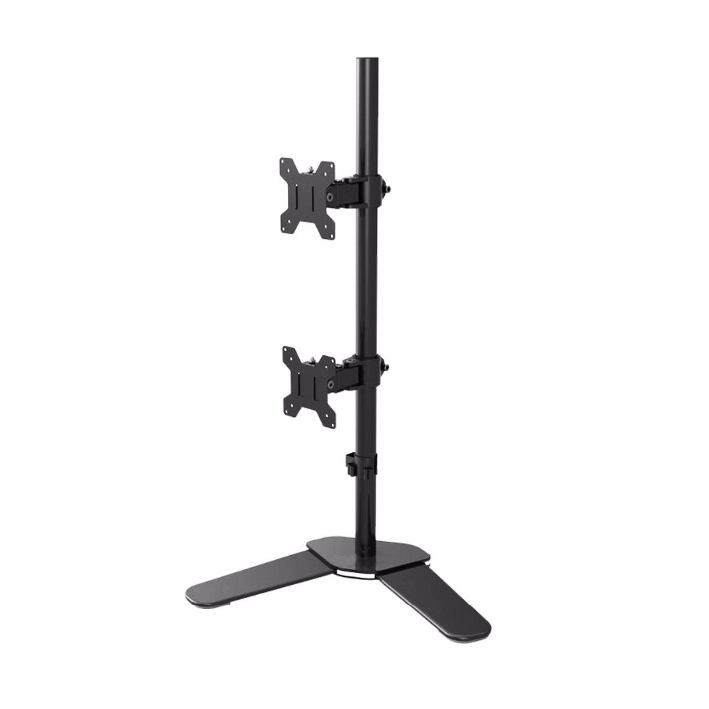 Suptek Dual LCD LED Monitor Stand Desk Mount Bracket Heavy Duty Stacked, Holds Vertical  ...