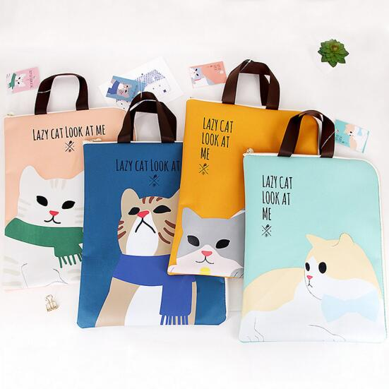 Kawaii Animal Zipper A4 Hand-held File Document Bag Lazy Cat Canvas School Student Desk Organizer Storage Bag Office Stationery
