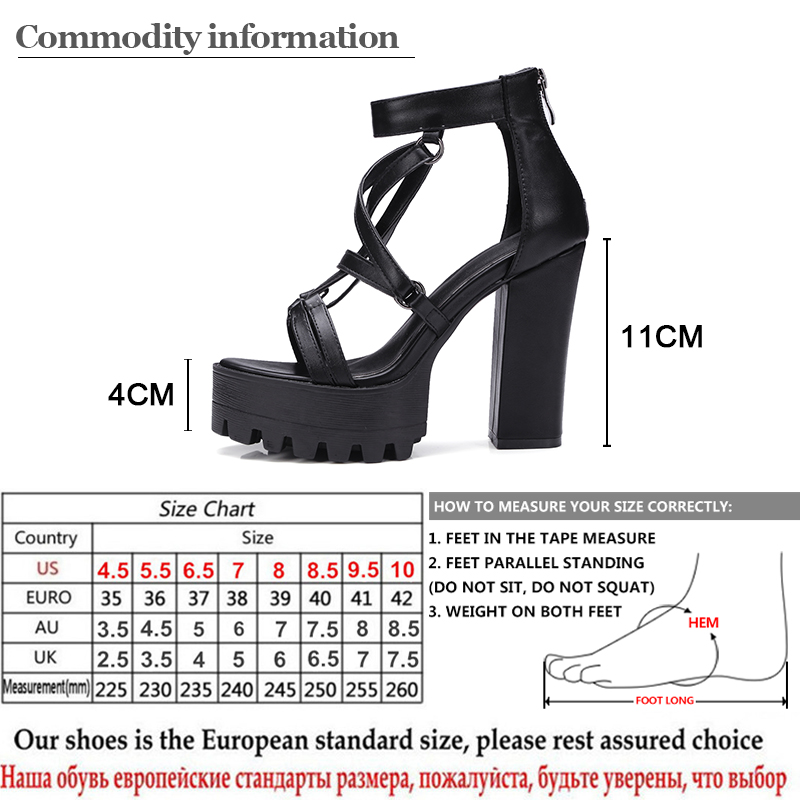 Gdgydh 2019 New Woman Platform Sandals Summer Open Toe High Heels Female Zipper Leather Shoes Ladies Comfortable Big Size 42