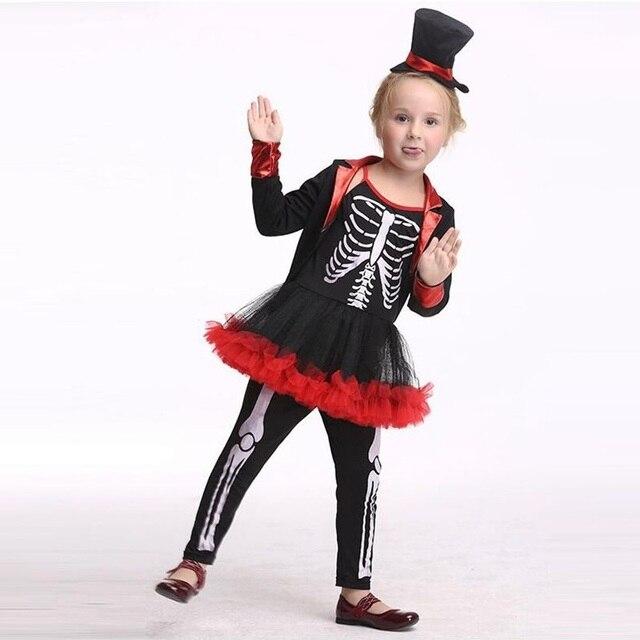rol mar ladrn traje esqueleto humano nias lujo vestidos halloween cosplay para los nios de rendimiento