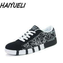 HAIYUELI Men's informal flat canvas sneakers style lace up spherical toe board sneakers black white blue Men Vulcanize Shoes print