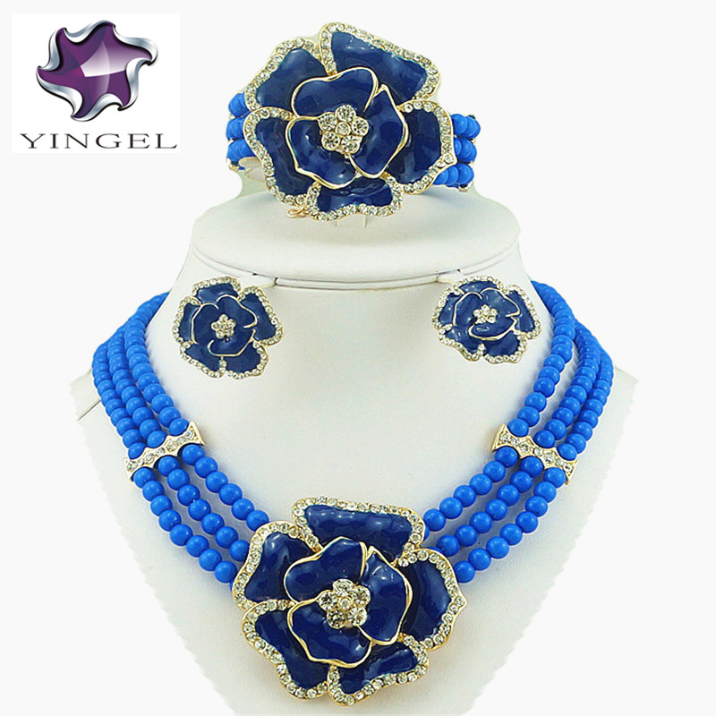 Bunga mawar set perhiasan, African set perhiasan besar, Wanita manik kalung, Set perhiasan manik-manik, Pernikahan pengantin kalung, Gelang emas