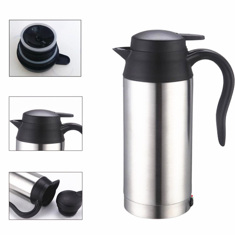 750ml 12V Car Heating Cup Stainless Steel Kettle Travel Thermoses Coffee Tea Heated Mug Motor Hot Water For Car Use