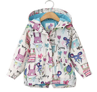 2016 spring girls windbreaker children graffiti printing Hoodie baby girl clothes