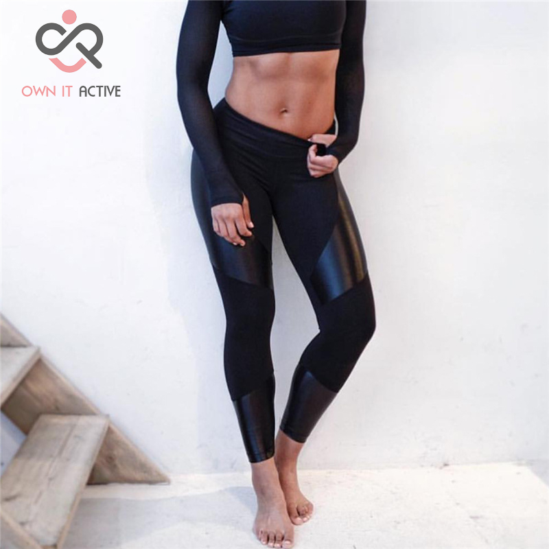 PU Leather Patchwork Compression Sports Leggings Fitness Yoga Pants Gym Clothes Running Tights Sportswear Trousers P186