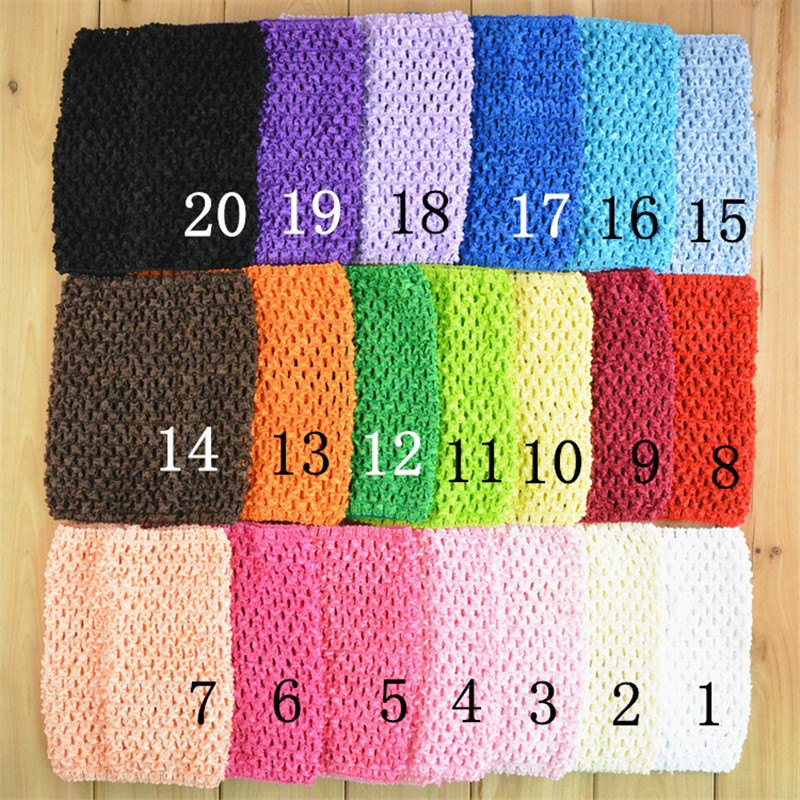Wholesale 80pcs lot 6 Inch Girl Elastic Tube Waffle Headbands Crochet Headwears 15x15cm 34 colors H015