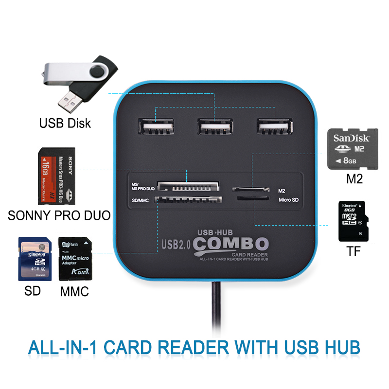 Free Shipping ALL in one Multi-card Reader with 3 Ports USB 2.0 HUB SD TF M2 Card Reader USB Combo For SD/MMC/M2/MS 5 Colors