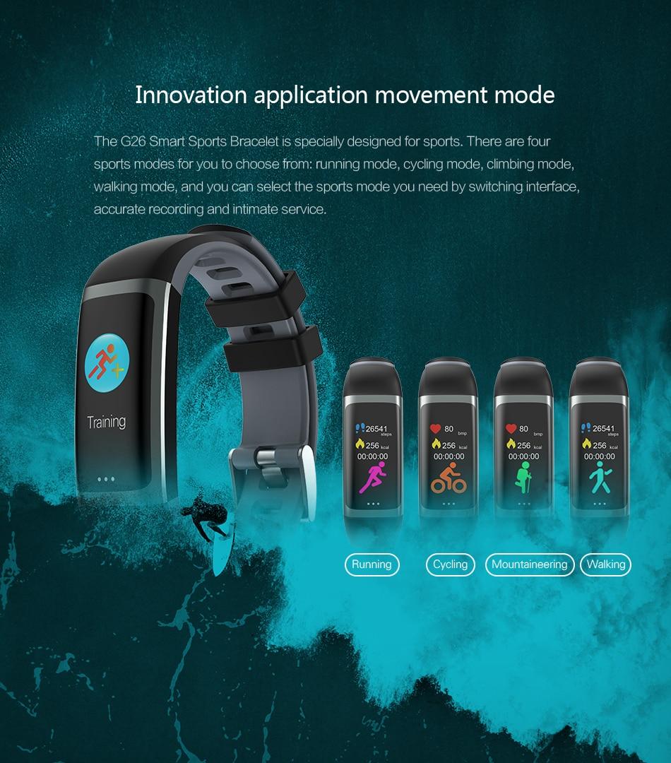 Cerreat G26 Smart Band IP67 Waterproof Heart Rate Fitness Tracker Smart Bracelet with Blood pressure oxygen monitor Color Screen (2)