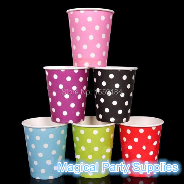 Free Ship 1000pcs Paper Cups 250ml Blue/Red/Pink/Light Green Disposable Polka Dots Paper Cups for All Birthday Wedding Party