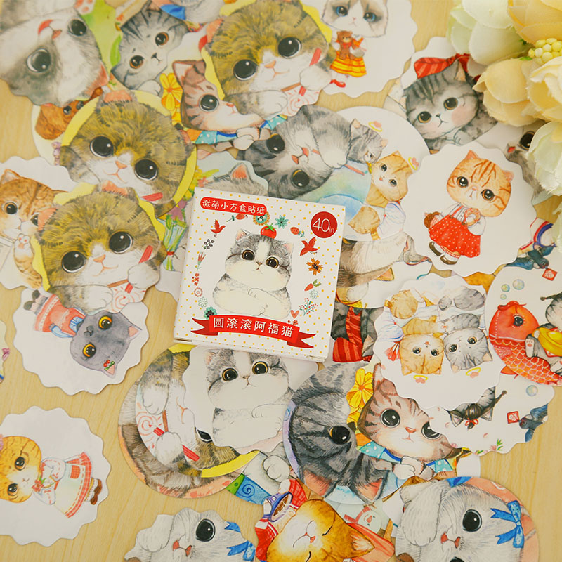 40 Pcs/box Cute Fat Cat Mini DIY Paper Sticker Set Decoration Diary Scrapbooking Seal Sticker School Supplies
