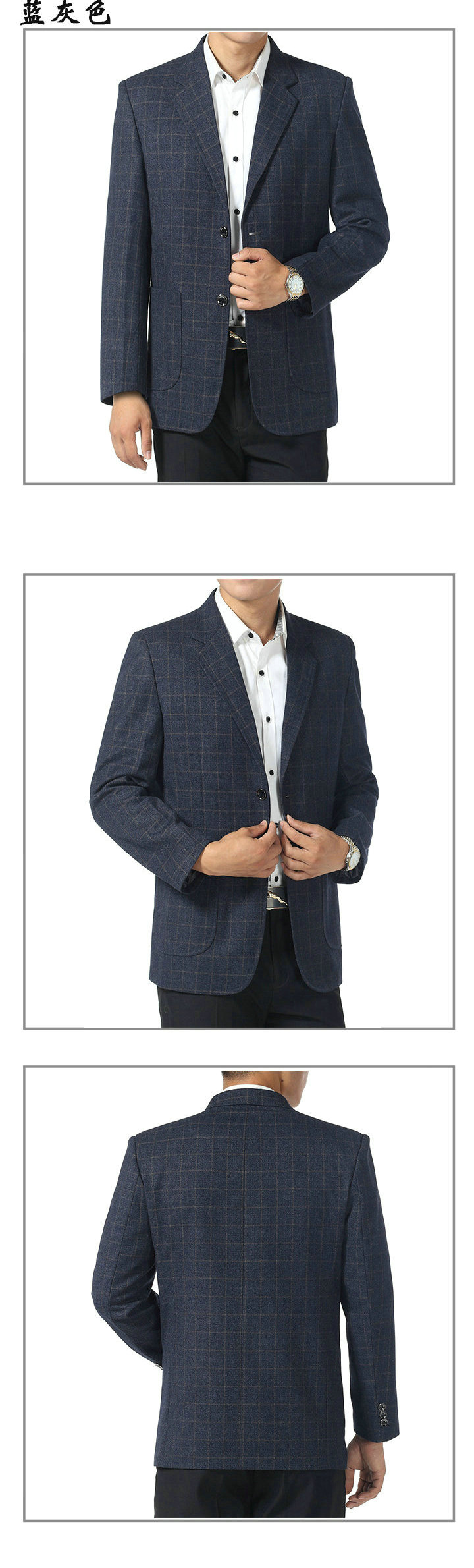 WAEOLSA Father  Blazer Blue Gray Plaid Jacket Suit Mature Men Business Casual Blazers Spring Autumn Garment Man Suit Coat (5)