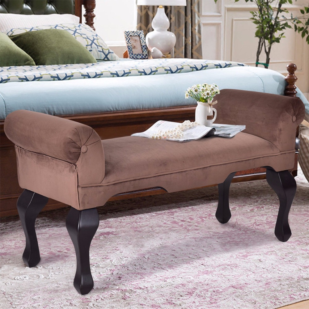 Giantex 45 Quot Microfiber Rolled Arm Bed Bench Seat Chair