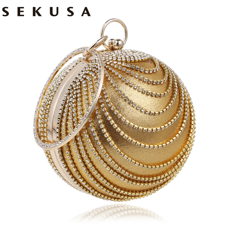 SEKUSA Circular Tassel Rhinestones Women Evening Bags With Handle Diamonds Metal Handbags For Wedding/Party/Dinner Evening Bags