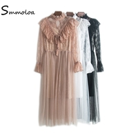 Smmoloa High Quality Women Vintage White Lace Autumn Casual 2 Piece Sets Lace Dress