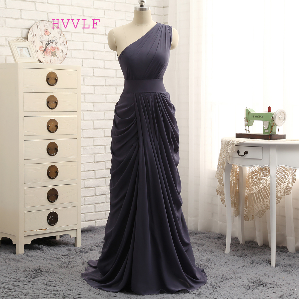 HVVLF 2017 Cheap Bridesmaid Dresses Under 50 A-line One-shoulder Gray Chiffon Pleated Long Wedding Party Dresses 2