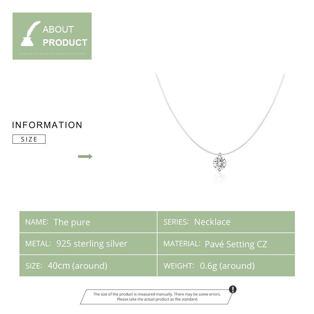 bamoer Silver Invisible Chain Necklaces pendants Rhinestone Choker Necklaces Transparent Fishing Line Collier Femme SCN332