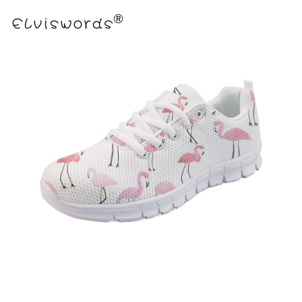 new style 060d4 f7821 ộ_ộ ༽ELVISWORDS Flamingo Impression Femmes Plat Chaussures Dames D ...