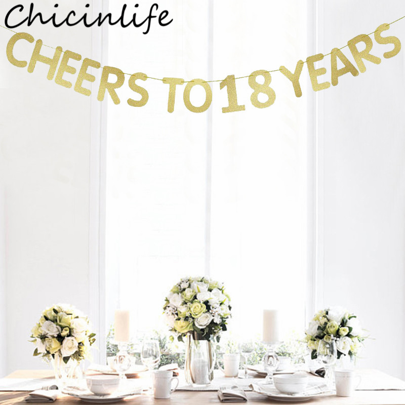 18 Time To Adult Gold Glitter Garland Banner Happy 18th Birthday Anniversary Party Decorations