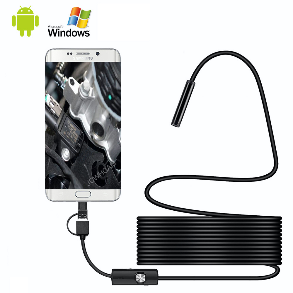 Android Endoscope 1m 2m 5m Wire 8mm Lens 1080P USB/Type-C Camera Borescope Waterproof Take Photos Inspection Endoscope Camera