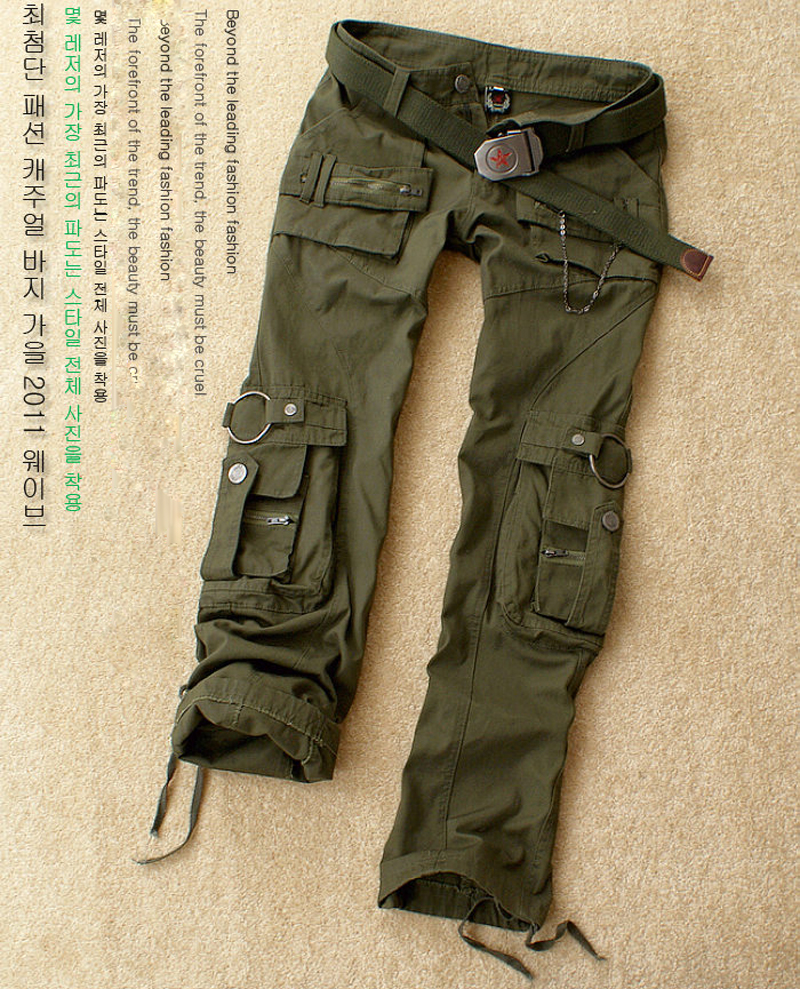 Free Shipping 2017 New Fashion Autumn-Summer Army Green Denim Camouflage Pants Loose Jeans Baggy Cargo Pants For Women Girls