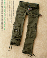Free Shipping New Fashion Autumn Summer Army Green Denim Camouflage Pants Women Loose Jeans Baggy Camo