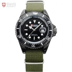 SHARK ARMY Creative Watches Army Green Date Display Nylon Strap Quartz Men Relogio Masculino Wrist Military Sports Watch /SAW016