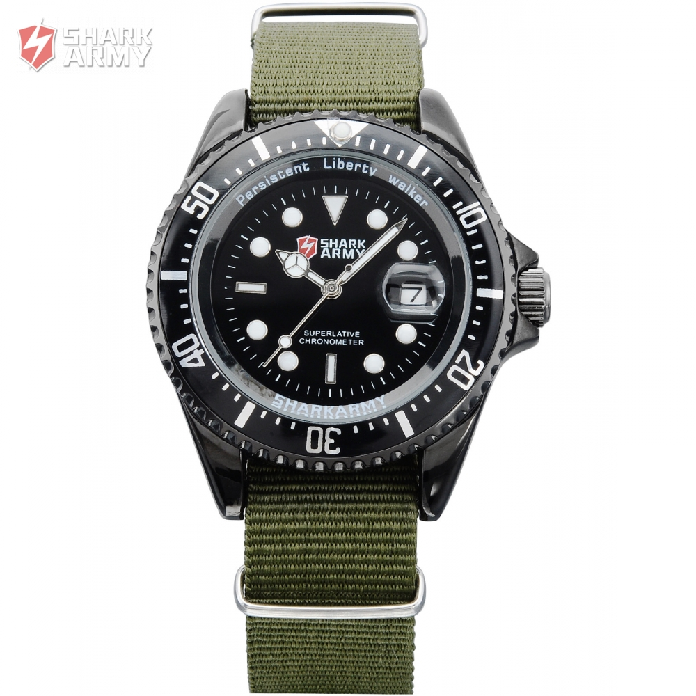 SHARK ARMY Creative Watches Army Green Date Display Nylon Strap Quartz Men Relogio Masculino Wrist Military Sports Watch /SAW016 voodoo ii shark army auto date black silicone strap military wristwatch sports clock men military quartz wrist watches saw177