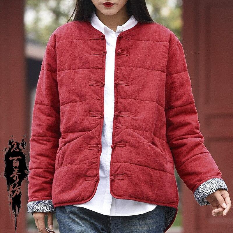 Étudiants Agneau Hiver Vestes À Chiese Black Style red Mode Vintage Femmes Lin Capuchon Parkas Filles Laine Pardessus Femelle Manteau De Coton qnaB71