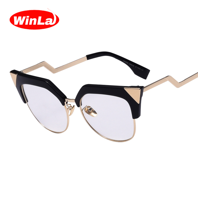c3374e6e581 Winla Luxury Brand Designer Ladies Cat Eye Glasses Transparent Nerd Glasses  Alloy Z-Shape Temple