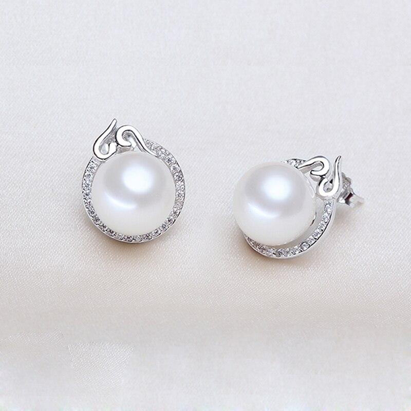 YIKALAISI 2017 100% naturel d'eau douce 10-11mm ronde perle bijoux 925 en argent Sterling boucles d'oreilles pour les femmes filles meilleur cadeau - 4