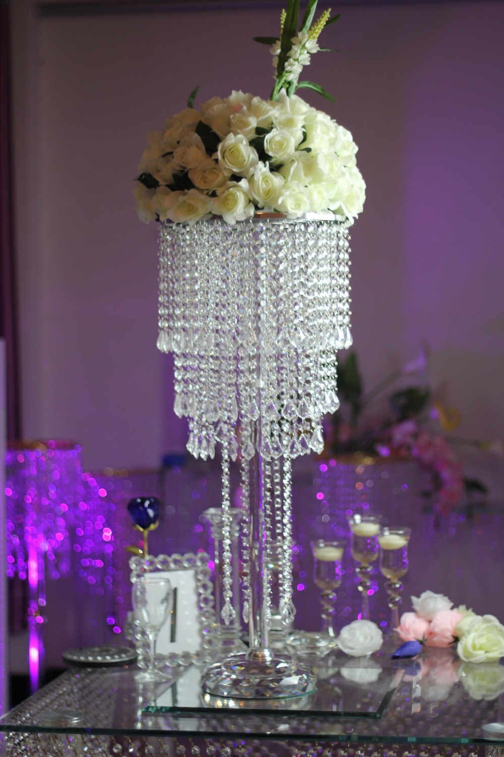 Chandelier table decorations my web value crystal flower stand chandelier table centerpiece arubaitofo Image collections