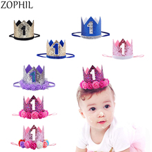 First Birthday Party Decorations Kids Decor Cap One Happy Birthday Hats Princess Crown 1st Year Old Number Baby Hair Accessory