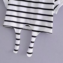Tied Striped O-neck Casual Short T Shirt